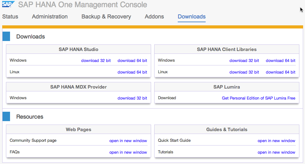 SAP HANA One Download Section