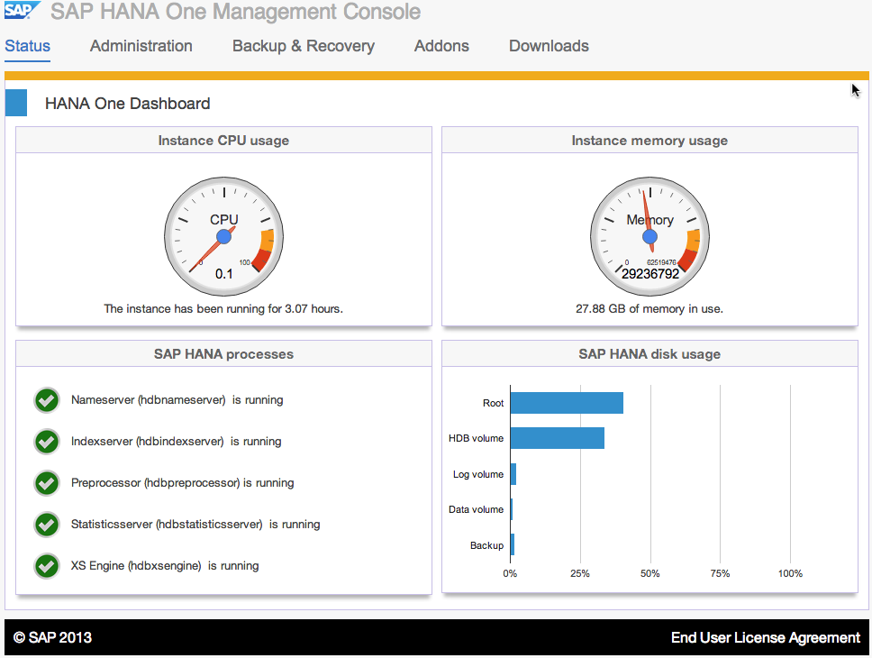 SAP HANA One Status